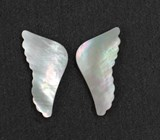 1pc White MOP inlay wing polished 2 sides 17.11 x 35 x 2.5mm