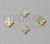 1pc Gold MOP notched squares 6x1.5mm