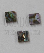 1pc Green abalone notched squares 5x1.5mm