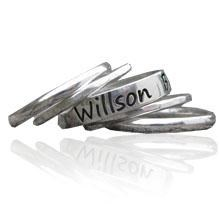 Personalised stacking rings with engraved band
