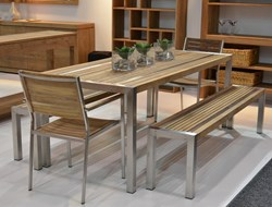 Teak Stripe Dining Table 160x90
