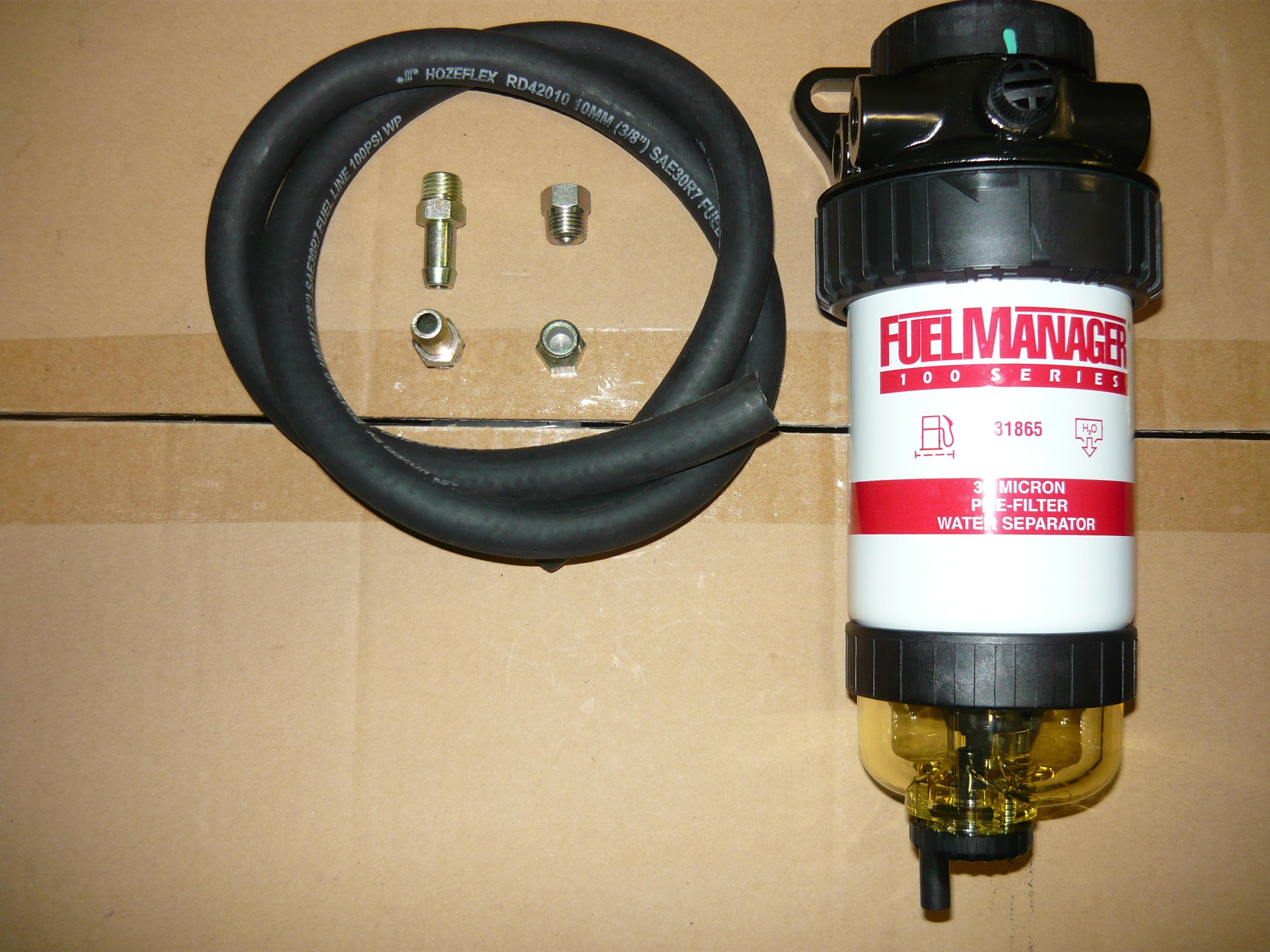 DIESEL FUEL PRE-FILTER UNIVERSAL KIT WITH WATER SEPARATOR