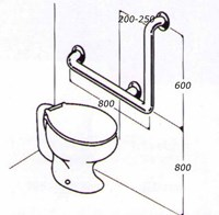 Toilet rail 32mm stainless type 03a
