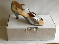 "Sale Silver glitter ballroom sandal with 2"" heel.  Size 3 only"