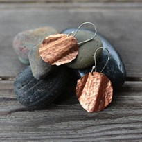 Wave copper earrings