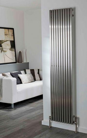 The Radiator Company Mara Vertical Designer Radiator In Brushed Stainless Steel Cast Iron