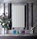 Bisque Decorative Panel DVL180-28 Vertical Radiator with Aluminium Finish