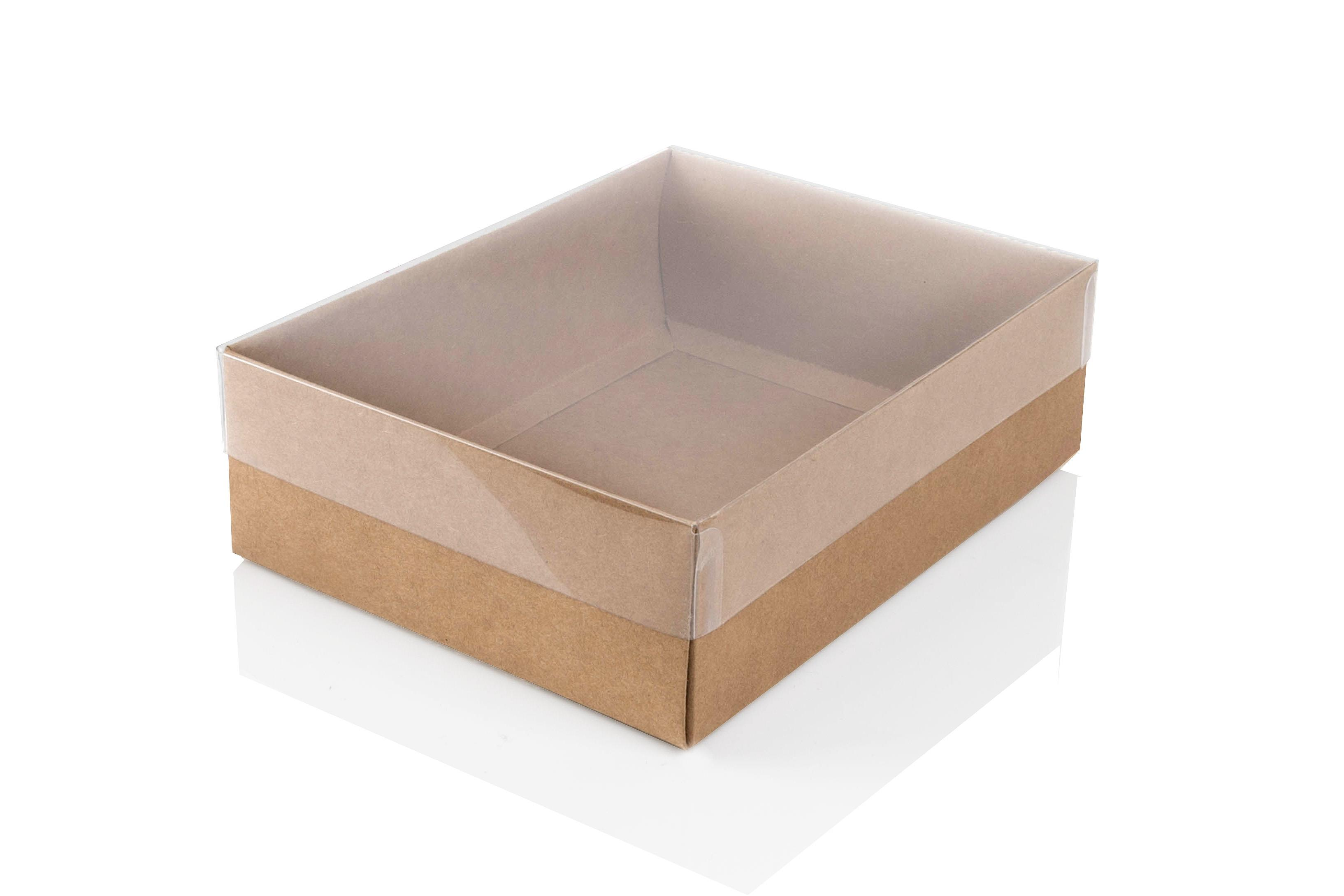 large kraft flat packed recycled gift box with clear lid pack of 50 165 x 125 x 50mm clrkr165. Black Bedroom Furniture Sets. Home Design Ideas
