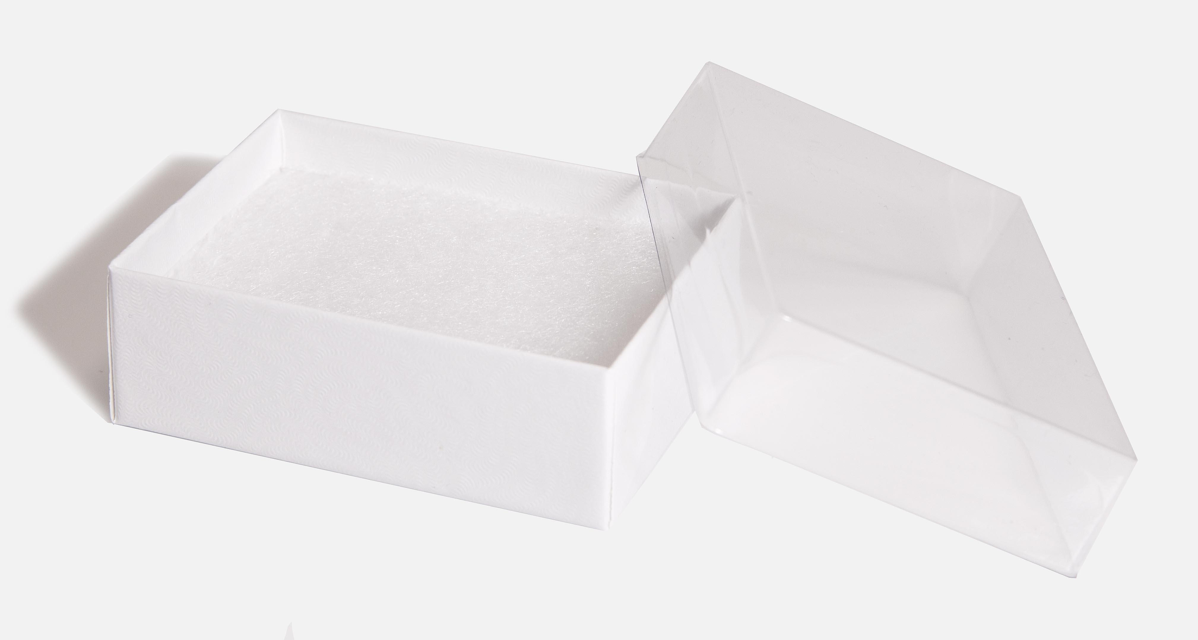 Medium Clear Favor Boxes : End of line medium recycled white swirl gift box with