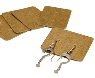 Kraft Earring Holders 35 x 25mm Pack of 100 (EARRINGKR35)