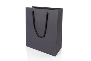 Large Portrait Black Paper Gift Bag With Rope Handles 300 x 250 x 120mm (JUPBLLA)