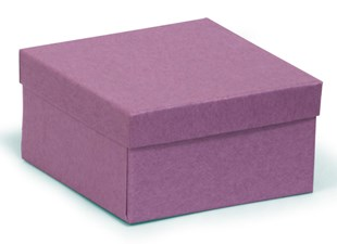 Square (deeper) recycled kraft purple gift box / purple recycled jewellery box 89 x 89 x 51mm (KCPU21)
