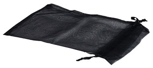 XL Black Organza Pouch With Ribbon Drawstring 180 x 130mm (OGBLXL)