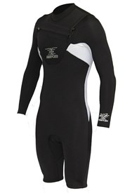 REEFLEX WETSUITS MERCURY 2/2mm CHEST ZIP 2/2mm Long Sleeve Springsuit - Charlie (Black/White)