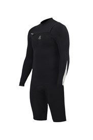 ZION WETSUITS Wesley 2/2mm Chest Zip L/S Springsuit - Black/ White - Summer 2016/17 Range