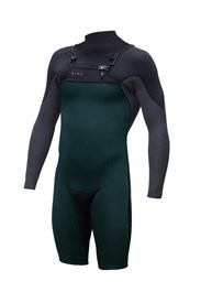 ZION WETSUITS Vault 2/2mm Chest Zip Sealed L/S Springsuit - Black/ Graphite/ Sea Green - Summer 2016/17 Range
