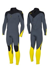 ZION WETSUITS FLUX 3/2mm STEAMER -  Graphite/ Black/ Buttercup
