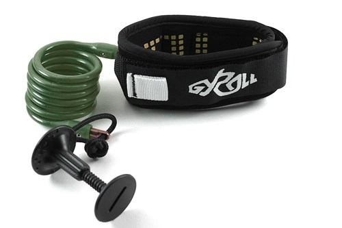 GYROLL Variable Leash Black Cuff - Military Green Coil