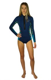 REEFLEX WETSUITS Indi Ladies 1.5mm Bikini Cut Long Sleeve Springsuit - Blue/ Feather