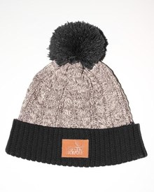 GRAND FLAVOUR Cable Beanie -  Black/ Grey