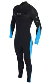 REEFLEX WETSUITS Hardy X Series 4/3mm GBS Chest Zip Steamer - Black/ Bue