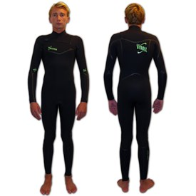 GYROLL WETSUITS Primus 3/2mm Chest Zip GBS Steamer - Black/ Lime - 2016 Winter