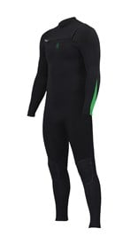 ZION WETSUITS Wesley 4/3mm GBS Chest Zip Steamer - Black/ Lime - Winter 2016 Range