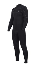 ZION WETSUITS Yeti 4/3mm Liquid S-Sealed Chest Zip Steamer - Black - Winter 2017 Range