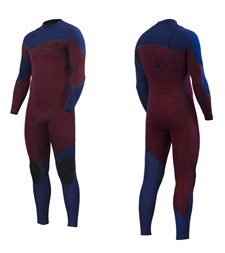ZION WETSUITS Cortez 3/2mm Liquid S-Sealed Zipperless Steamer - Burgundy/ Navy - 2015 Winter