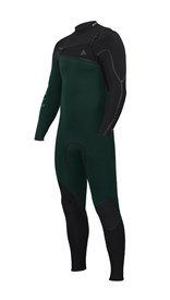 ZION WETSUITS Yeti 3/2.5mm Liquid S-Sealed Chest Zip Steamer - Forest/ Black - Winter 2016 Range