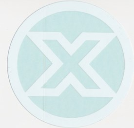 CUSTOM X - Circle Logo Sticker - White