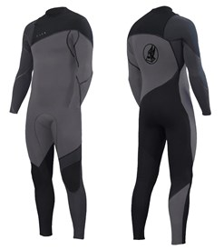 ZION WETSUITS Cortez 3/2mm Liquid S-Sealed Zipperless Steamer - Silver/ Black/ Graphite -  Winter 2018 Range