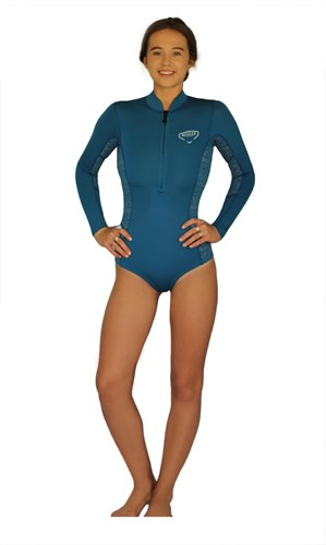 REEFLEX WETSUITS Jewel Ladies 1.5mm Bikini Cut Long Sleeve Springsuit - Marine/ Silver - Winter 2017 Range