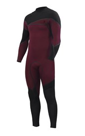 ZION WETSUITS Cortez 4/3mm Liquid S-Sealed Zipperless Steamer - Burgundy/ Black - 2nd Winter 2015 Range