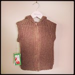 Knitted Vest - Recycled Acrylic - Brown Zip