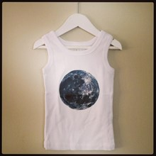 White  Organic Cotton Singlet sizes 00, 0, 2, 4, 6 WITH MOON