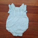 Heritage Handknitted Bamboo and Wool Onesie  - Blue