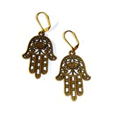 Bronze Hamsa Hand Charm Earrings