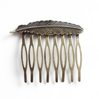 Bronze Feather Hair Comb Slide