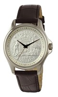 Coinwatch Lifestyle Collection Mens Silver Australian Florin with Black leather band