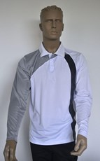 Sun Protection Mens White and Grey Golf Shirt