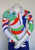 Sun Protection Orange Swirl Ladies Golf Shirt
