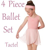 Studio 7, Girls 4 Piece Ballet Set, includes a Wrap Skirt, (6 Colours) TACTEL