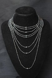 Necklace - Multi-Strand Choker-Style - Haematite Beads & Black Pearls