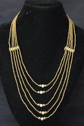 Necklace - Multi-Strand - Black Pearls or White Pearls