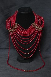 Necklace - Multi-Strand Choker - Crystals