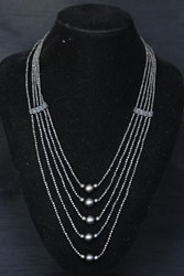 Necklace - Multi-Strand - Draped Chunky Balls