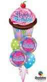 Spots & Cupcake Birthday Balloon Bouquet