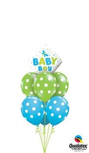 New Baby Boy Spotty Balloon Bouquet