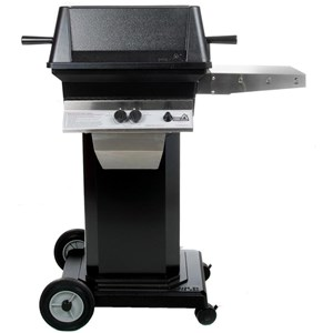 PGS A30 Cast Aluminum Propane Gas Grill on Black Portable Pedestal Base A30LP+ABPED+ALC